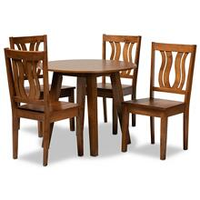 See Details - Baxton Studio Anesa Modern and Contemporary Transitional Walnut Brown Finished Wood 5-Piece Dining Set