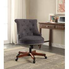 Upholstered Office Chair With Casters, Dark Blue