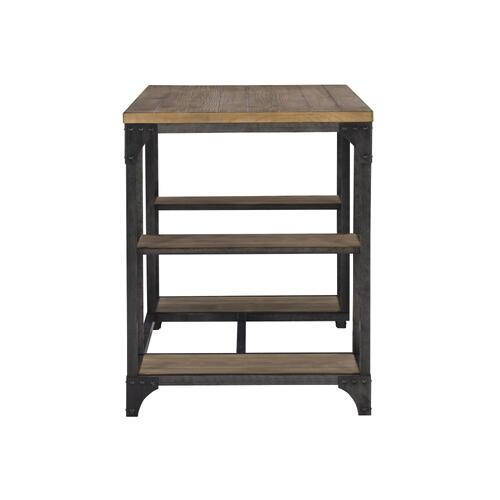 4 Open Shelves and Metal Base Desk, Weathered Driftwood