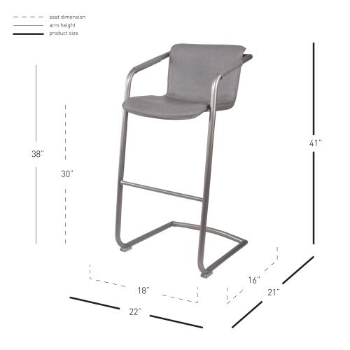 Indy PU Bar Stool w/ Arms Silver Frame, Antique Graphite Gray