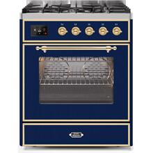 Majestic II 30 Inch Dual Fuel Liquid Propane Freestanding Range in Blue with Brass Trim
