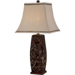 Table Lamp - Coffee Ceramic Body/fabric, E27 Cfl 25w/3-way