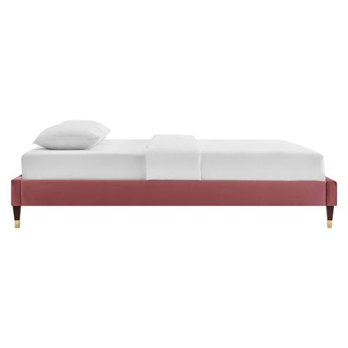 Harlow Twin Performance Velvet Platform Bed Frame in Dusty Rose