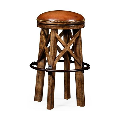 Country living style walnut bar stool revolving seat