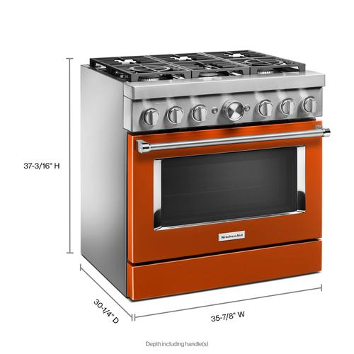 KitchenAid® 36'' Smart Commercial-Style Dual Fuel Range with 6 Burners - Scorched Orange