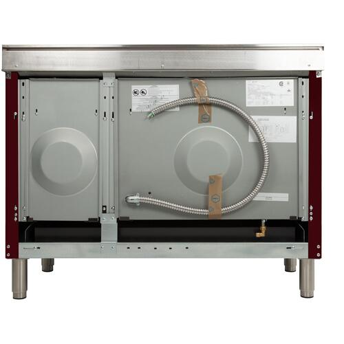Nostalgie 48 Inch Dual Fuel Liquid Propane Freestanding Range in Burgundy with Brass Trim