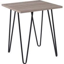 Oak Park Collection Driftwood Wood Grain Finish End Table with Black Metal Legs