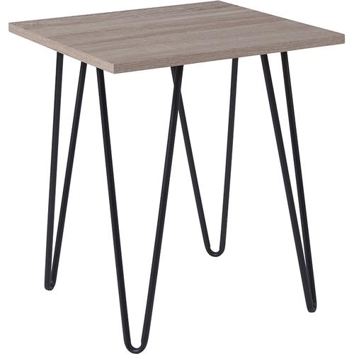Flash Furniture - Oak Park Collection Driftwood Wood Grain Finish End Table with Black Metal Legs