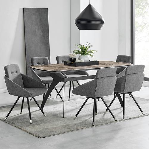 Armen Living - Granada Swivel Gray Fabric Dining Room Chairs - Set of 2