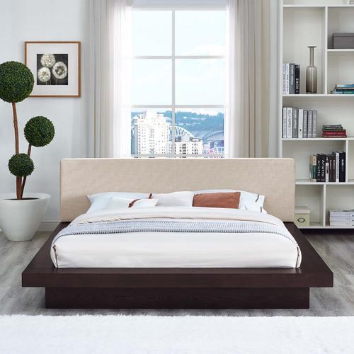 Modway - Freja Queen Fabric Platform Bed in Cappuccino Beige