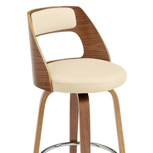 """Armen Living - Axel 30"""" Swivel Bar Stool in Cream Faux Leather and Walnut Wood"""