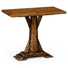 Country living style walnut rectangular side table