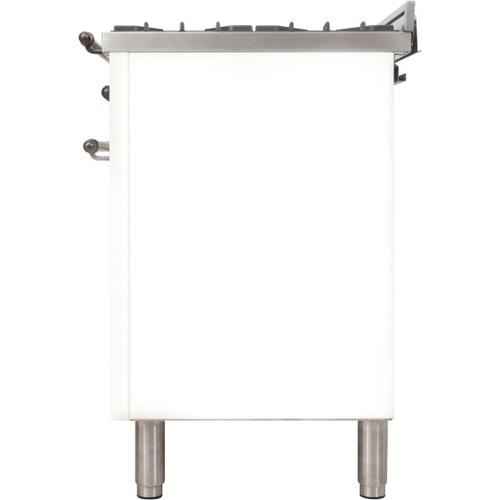 Ilve - Nostalgie 40 Inch Dual Fuel Natural Gas Freestanding Range in White with Bronze Trim