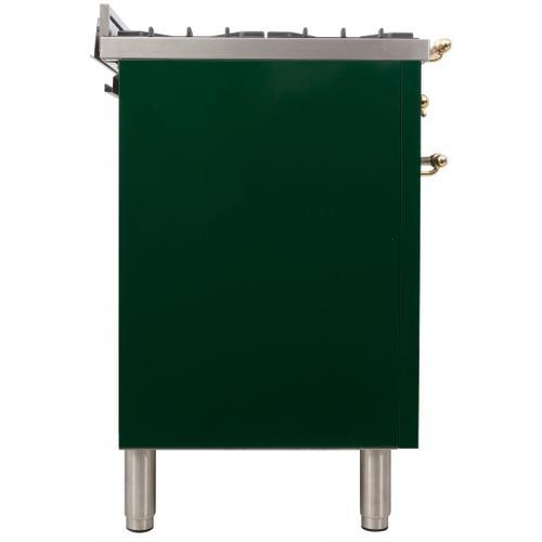 Product Image - Nostalgie 24 Inch Dual Fuel Liquid Propane Freestanding Range in Emerald Green with Brass Trim