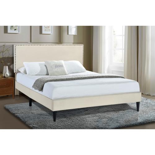 Nailhead Trimmed Upholstered King Platform Bed in Natural Beige