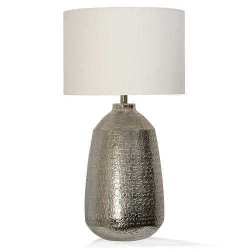 TEXTURED NICKEL  16in w. X 31in ht. X 16in d.  Metal Base Table Lamp with Round Linen Drum Shade
