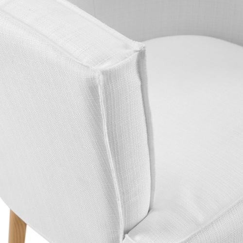 Anders Accent Chair Upholstered Fabric Set of 2 in White