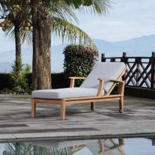 See Details - Marina Outdoor Patio Teak Single Chaise in Natural Gray