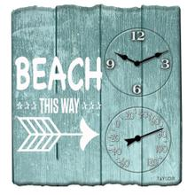 14-Inch x 14-Inch Beach This Way Clock with Thermometer