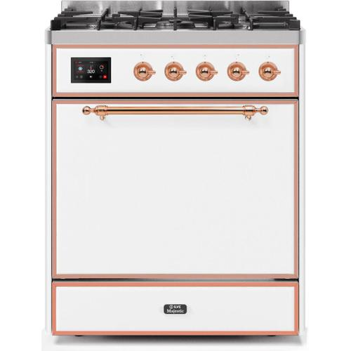 Ilve - Majestic II 30 Inch Dual Fuel Natural Gas Freestanding Range in White with Copper Trim