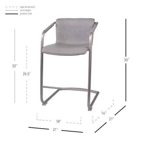 Indy PU Counter Stool w/ Arms Silver Frame, Antique Graphite Gray