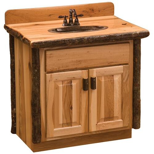 Vanity with Top - 36-inch - Natural Hickory - Sink Center - Liquid Glass