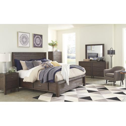 Queen Panel Bed With 4 Storage Drawers With Mirrored Dresser, Chest and Nightstand