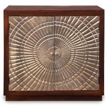 HALIFAX CABINET  Silver Metal Wrapped Doors with Dark Walnut Finish on Mango Wood  2 Door