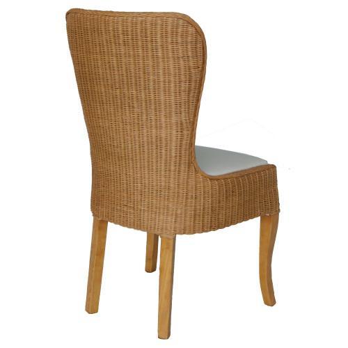 Sophie Rattan Dining Side Chair, Honey Glaze Brown