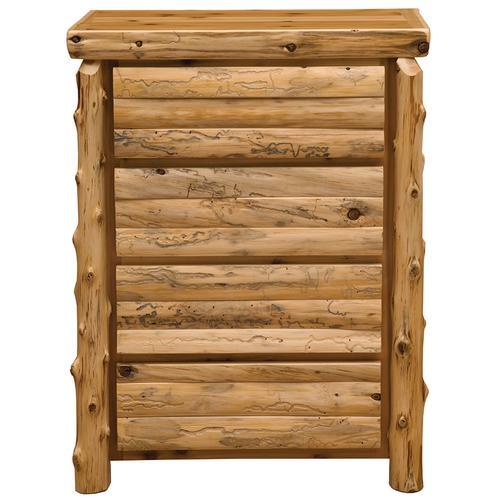 Log Front Four Drawer Chest - Natural Cedar - Log Front - Value