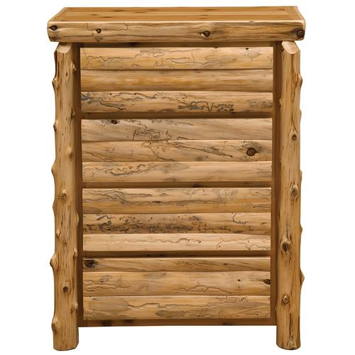 Log Front Four Drawer Chest - Natural Cedar - Log Front - Premium