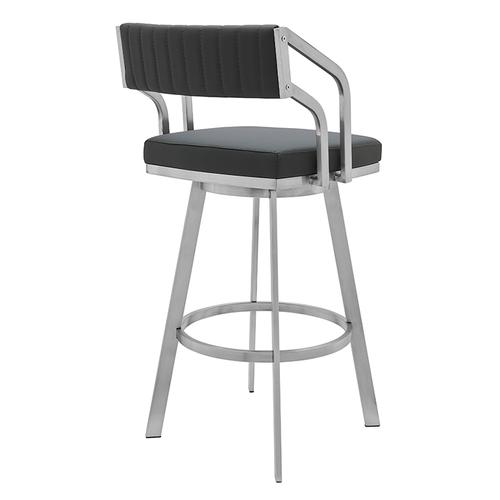 """Capri 26"""" Counter Height Swivel Barstool with Brushed Stainless Steel Finish and Slate Grey Faux Leather"""
