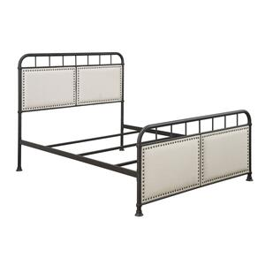 All-in-One Linen Upholstered Panel Queen Metal Bed