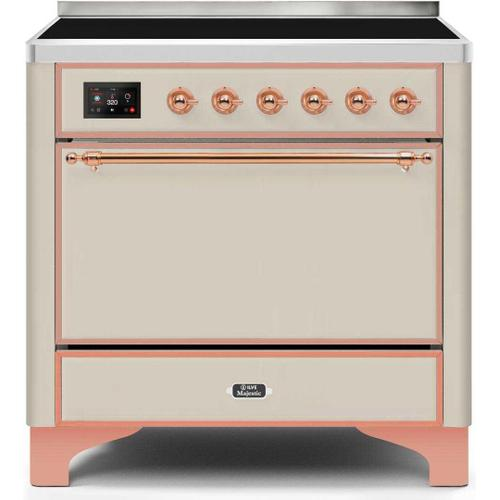 Ilve - Majestic II 36 Inch Electric Freestanding Range in Antique White with Copper Trim