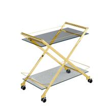 "Two Tier 31"" Rolling Bar Cart, Gold"