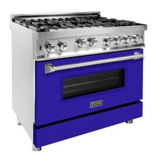ZLINE 36 in. Professional Gas on Gas Range in Stainless Steel with Blue Matte Door (RG-BM-36)