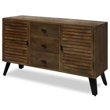 LEVI CABINET  55in w. X 32in ht. X 16in d.  Medium Chestnut Stained Solid Wood Two Door Three Draw