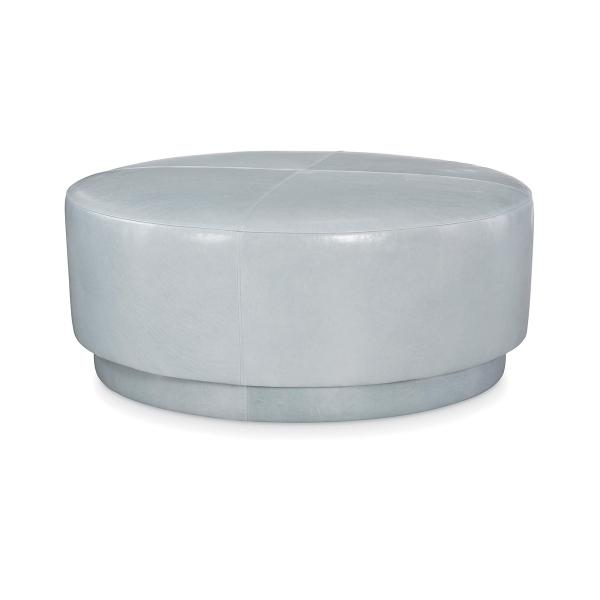 See Details - Leather Round Ottoman