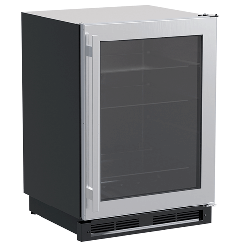 24-In Built-In High-Capacity Beverage Center with Door Style - Stainless Steel Frame Glass