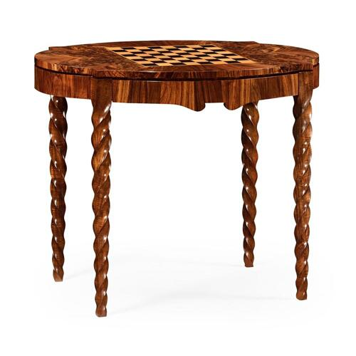 Walnut game table with walnut twisted legs