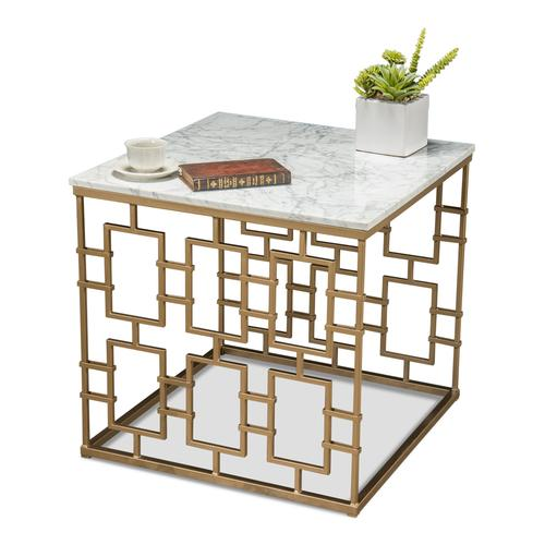 Brass Gate Occasional Table W/ Marble