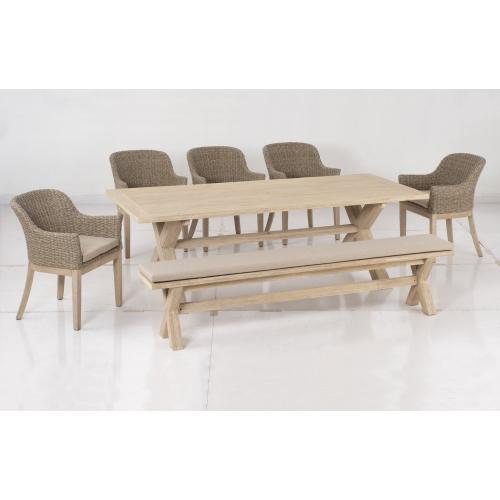 """Gracelyn 95"""" Rect. Acacia FSC KD Dining Table w/ umbrella hole, Base Only"""