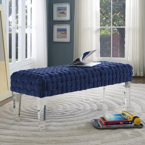 Tov Furniture - Sal Woven Navy Velvet Bench