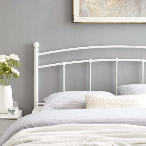 Abigail Queen Metal Headboard in White