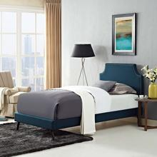 View Product - Corene Twin Fabric Platform Bed with Round Splayed Legs in Azure