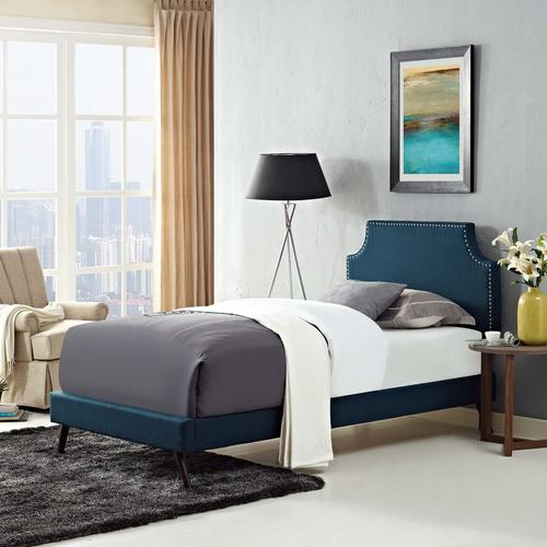 Modway - Corene Twin Fabric Platform Bed with Round Splayed Legs in Azure