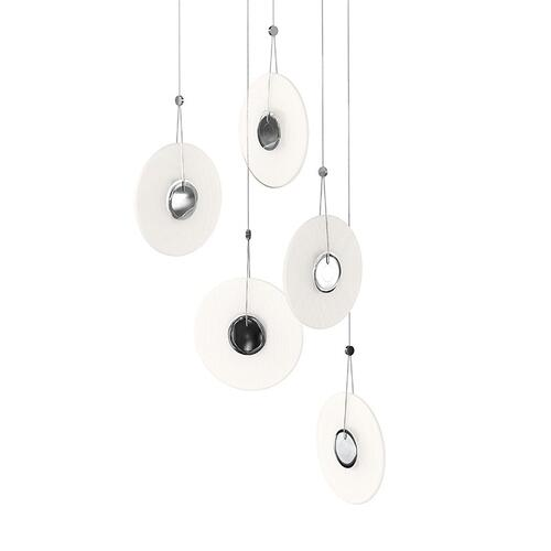 Sonneman - A Way of Light - Meclisse LED Pendant [Size=5-Light, Color/Finish=Polished Chrome w/Etched Glass]