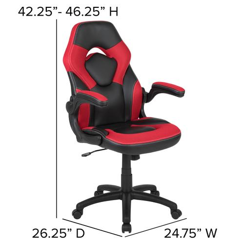 Gallery - Black Gaming Desk and Red\/Black Racing Chair Set with Cup Holder, Headphone Hook & 2 Wire Management Holes