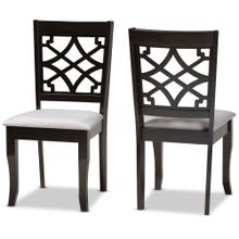 Baxton Studio Mael Modern and Contemporary Grey Fabric Upholstered and Dark Brown Finished Wood 2-Piece Dining Chair Set