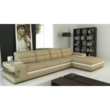 Divani Casa 6132 Modern Beige and White Bonded Leather Sectional Sofa